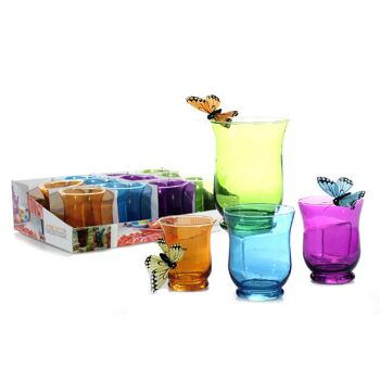 17-27087, Glas Windlicht 10,5 cm, Kerzenhalter, Tischdeko