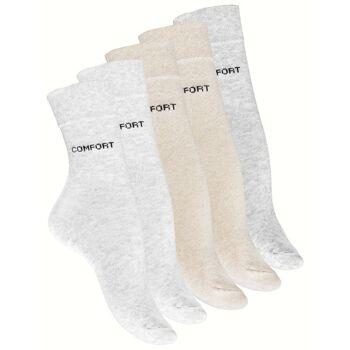 Damen Socken COMFORT, Ohne Gummi, 5er Pack