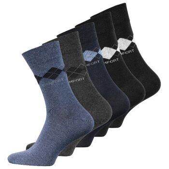 Herren Baumwoll-Socken Karo ohne Gummi, mit Comfort schriftzug 5er