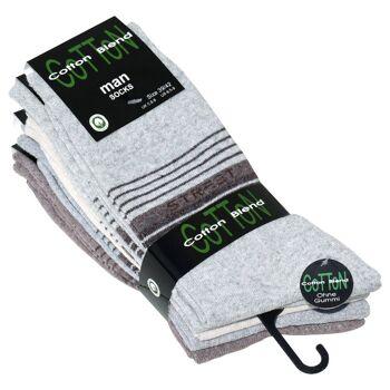Herren Baumwoll-Socken ohne Gummi mit STREET Schriftzug, helle Farbsortierung, 5er pack