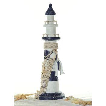 17-90541, Deko Leuchtturm mit Fischen, 32 cm