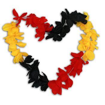27-42840, Deutschland Hawaiiblumenkette große Blüten, 120 cm, Party, Event, Fanmile, Fahen, Flagge, BRD Farben,usw.