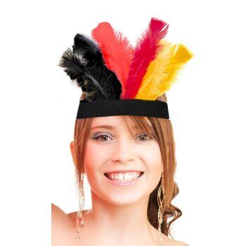 27-43248, Kopfband Deutschland mit Federn. Party, Event, Stadion Publicviewing Fanmile, usw
