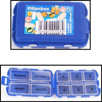 12-1102408, Pillendose für 6-7 Tage, Tablettenbox mit Clipverschschluß und 10 Fächern, Pillenbox