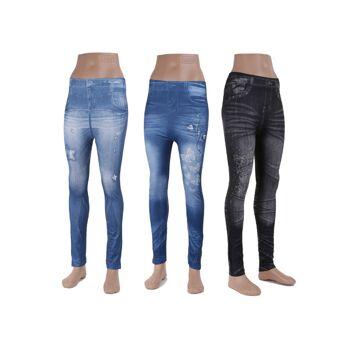 60 Modische Damen Leggings Leggins Jeans-Look verschiedene Farben- nur 2,29 EUR je Legging