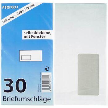 28-013361, Briefumschläge 30er Pack, mit Fenster, DIN lang, selbstklebend