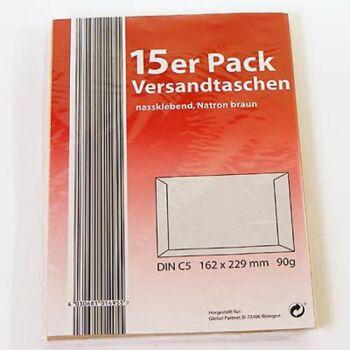 28-014955, Versandtaschen DIN C5, 15er Pack, 162x229mm