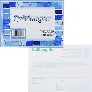28-042179, Quittungsblock A6, 2fach, 40 Blatt, durchschreibend