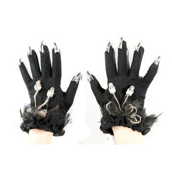17-28576, Handschuhe mit Fingernägeln und Tötenköpfen, Halloween, Party, Karneval, Fasching, Disco, usw.++++++
