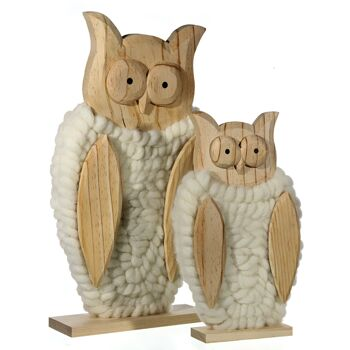 17-42018, Holz Eule mit Wolle, 32 x 18 cm, Dekofigur