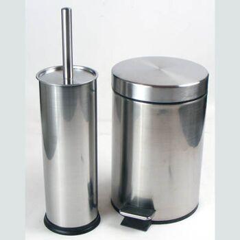 28-288553, Metall WC Garnitur Set 3-teilig, WC Bürste mit Ständer und Treteimer, Mülleimer, Klobürtse