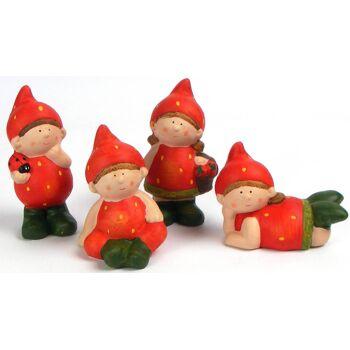 28-553980, Dekofigur Erdbeere Junge/Mädchen, 12 cm, Keramik