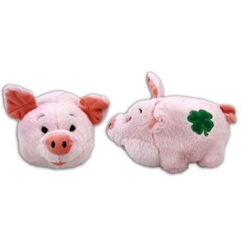 06-5075, Glücksschwein 15 cm stehend, mit gesticktem Kleeblatt, Plüschschwein, Plüschtier