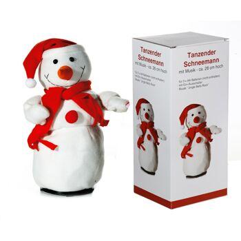 17-28799, tanzender Schneemann 30 cm tanzend und drehend, mit Musik, Weihnachtsfigur, Weihnachtsdeko