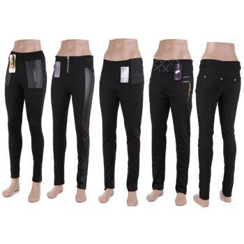 Modische Damen leggins versch. Modelle Lederioptik Kunstleder Applikation mit Taschen nur 5,90 EUR