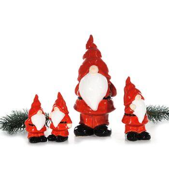 17-25826, Santa mit roter Hose, stehend, Steinzeug, 22 cm, Weihnachtsmann, Nikolaus, Dekofigur