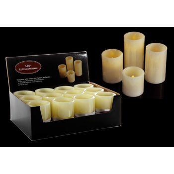 17-26222, LED Kerze, 12,5 cm hoch, elfenbein, Wachs; gelb flackerndes LED Licht