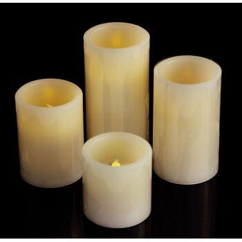 17-26223, LED Kerze, 15 cm hoch, elfenbein, Wachs; gelb flackerndes LED Licht