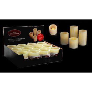 17-26226, LED Kerze, 12,5 cm, mit an -/und ausblasfunktion, elfenbein, Wachs; gelb flackerndes LED Licht