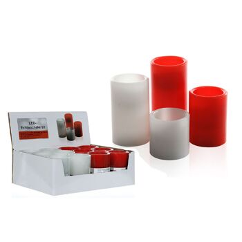 17-27891, LED Echtwachs Kerze, weiss und rot, 10 cm, flackerndes LED Licht