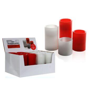17-27893, LED Echtwachs Kerze, weiss und rot, 15 cm, flackerndes LED Licht