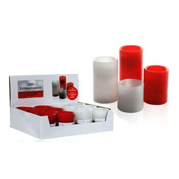 17-27894, LED Echtwachs Kerze zum ausblasen, weiss und rot, 7,5 cm, flackerndes LED Licht