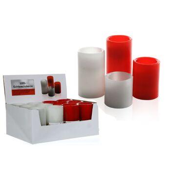 17-27896, LED Echtwachs Kerze zum ausblasen, weiss und rot, 12,5 cm, flackerndes LED Licht