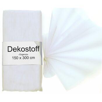 17-22040, Dekostoff organza 150x300cm , Weiß