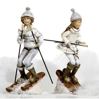 17-28787, Winter Kinder mit Ski bei der Abfahrt, 14 cm, Dekofigur, Weihnacht