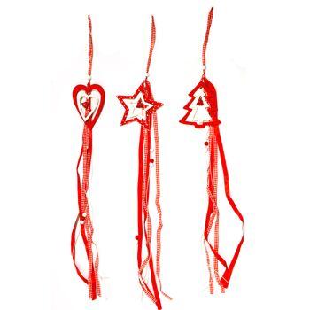 17-29178, Holz Hänger 72 cm, Weihnacht rot-weiss Glöckchen