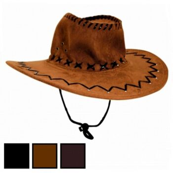 10-542310, Leder Cowboyhut, Truckerhut, Westernhut, Eventhut, Partyhut, Beachparty, Strand, Camping, Karneval, Fasching, Kostüm, usw
