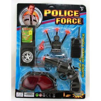 Polizeikarte 8-teilig, mit Pistole, Funkgerät, Schutzbrille etc., Agentenset, Abenteuerset, Spielset