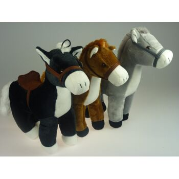 Plüsch Pferd mit Sattel und Geschirr (Halfter), 33 cm, Reitpferd