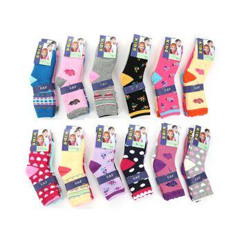 Mädchen Kinder Thermo Socken verschiedene Farben Motive Muster - Gr. 23-38 - für 0,69 EUR je Paar