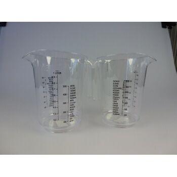 12-800871, Messbecher 1 Liter, glasklar, stabile Ausführung exclusiv, Meßkanne, Meßbecher, Küchenhelfer, Sahnebehälter
