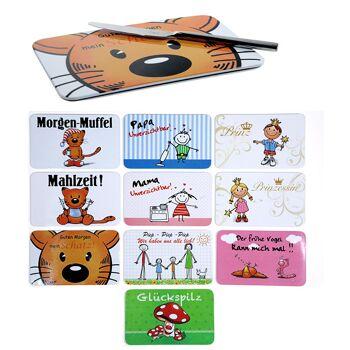 12-26841, Melamin Frühstücksbrettchen mit frechen Sprüchen, Kindermotive, Schneidbrett, Schneidebrett