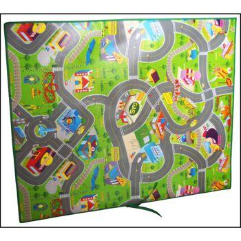 28-508849, Rennbahn Spielmatte 120x100 cm, im Straßendesign, Rennstrecke