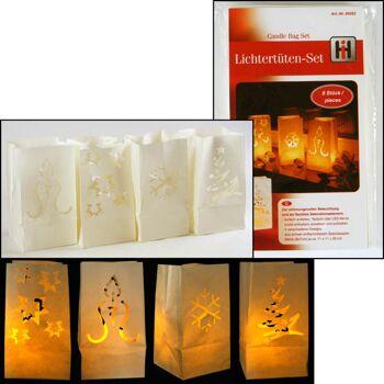 28-550526, Lichtertüten weihnachtlich 8er Pack, zur stimmungsvollen Beleuchtung oder als flexibles Dekorationselement
