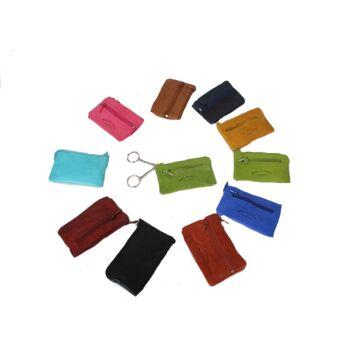Schlüsselanhänger Echtes Leder Etui Schlüsseltasche Tasche Key Anhänger Farbig nur 1,99 Euro