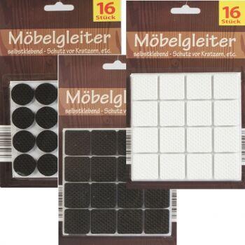 28-025166, Möbelgleiter 16er Pack, EVA, selbstklebend, Filzgleiter, Möbelschutz, Fußbodenschutz