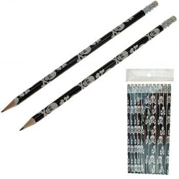 10-557422, Bleistift 20cm, Piraten Totenkopfmotiv mit Radiergummi 12er Set