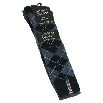 Herren Baumwoll-Kniestrümpfe ohne Gummibund mit Rauten-Muster