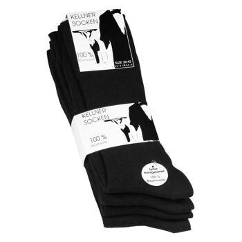 Herren Kellner Socken schwarz 100% Baumwolle
