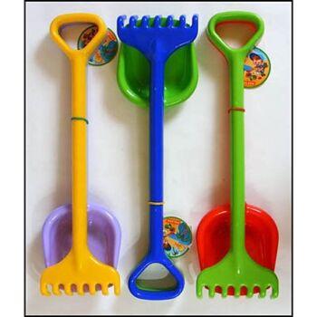 28-004727, Sandspielzeug 2er Set, 50 cm, hochwertig, Schaufel + Rechen, Strandspielzeug