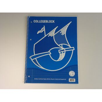 12-44127, Collegeblock A4 80 Blatt LIN  27 liniert mit Doppelrand, 2x Rand, Spiralblock