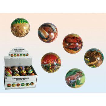 12-120956, Soft-Springball Dinosaurier, 6,5 cm, Flummi, Knetball, Knautschball, Massageball, Antistressball