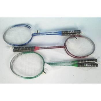 28-740850, Badmintonset 3-teilig, 2 Metall Schläger mit Ball, Federball, Beachball