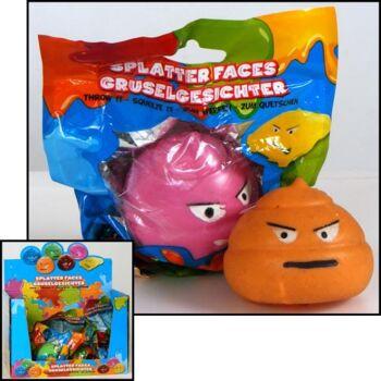28-507026, Knetball Gesicht 6 cm, Knetball, Antistressball, Knetgesicht, Knautschgesicht, Gruselgesicht
