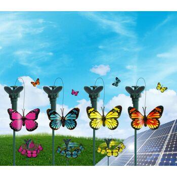 17-13604, Solar-Schmetterling, Flatternder Schmetterling auf Gartenstecker