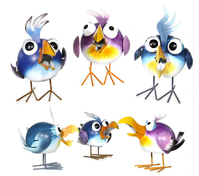 Peters-Living Vogeltr/änke mit Zwei Deko-V/ögeln Gartendekoration Vogelbad mit Standfu/ß in Zwei Farben